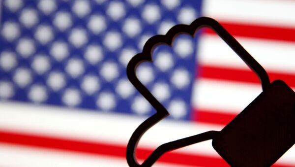 A 3D-printed Facebook Like symbol is displayed inverted in front of a U.S. flag in this illustration taken, March 18, 2018 - Sputnik International