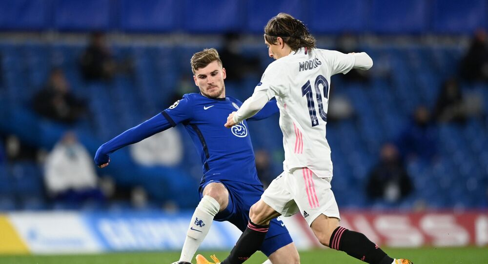 Soccer Football - Champions League - Semi Final Second Leg - Chelsea v Real Madrid - Stamford Bridge, London, Britain - May 5, 2021 Chelsea's Timo Werner in action with Real Madrid's Luka Modric