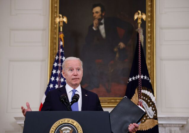 U.S. President Joe Biden delivers remarks on the state of his American Rescue Plan from the State Dining Room at the White House in Washington, D.C., U.S., May 5, 2021
