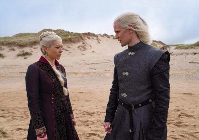 Screenshot captures one of the first peeks at the upcoming Game of Thrones prequel series House of the Dragon, which will be based off of George R.R. Martin's book Fire & Blood.