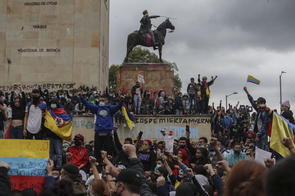 Anti-government demonstrators protest in Bogota, Colombia, Wednesday, 5 May 2021.