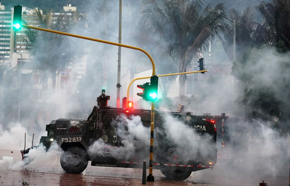 A police armored vehicle is pictured during a protest against poverty and police violence in Bogota, Colombia 5 May 2021.