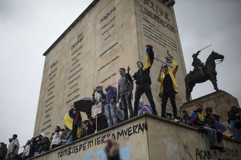 Demonstrators protest against tax reform in Bogota, Colombia, Wednesday, 5 May 2021.