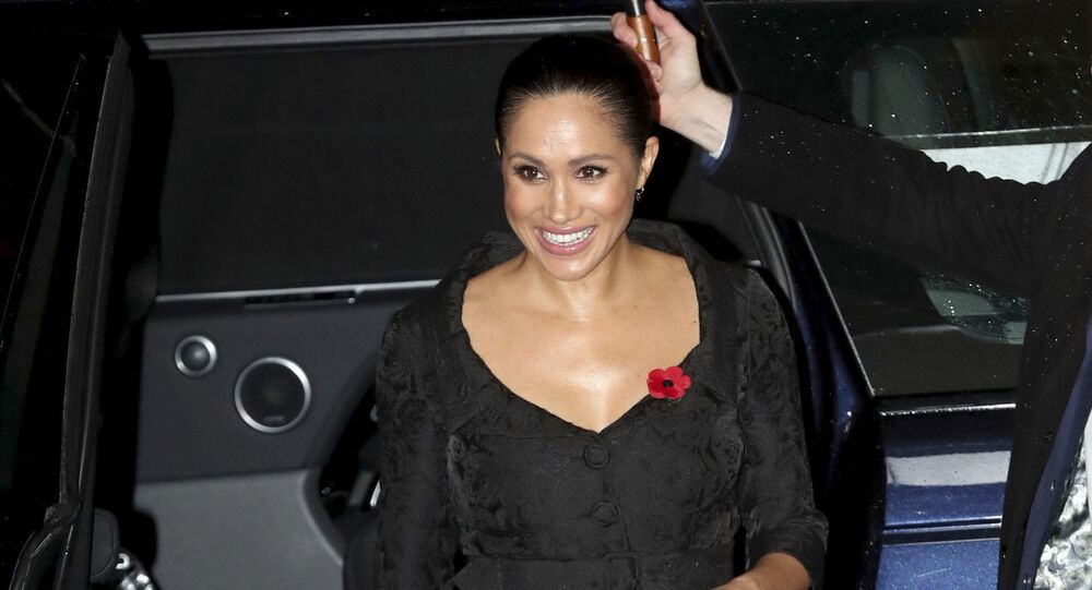 The Duchess of Sussex arrives for the annual Royal British Legion Festival of Remembrance at the Royal Albert Hall in Kensington, London on Saturday, Nov. 9, 2019