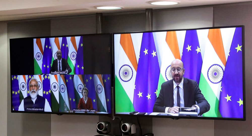 European Council President Charles Michel takes part in a virtual summit with European Commission President Ursula von der Leyen and Indian Prime Minister Narendra Modi, in Brussels, on July 15, 2020. (