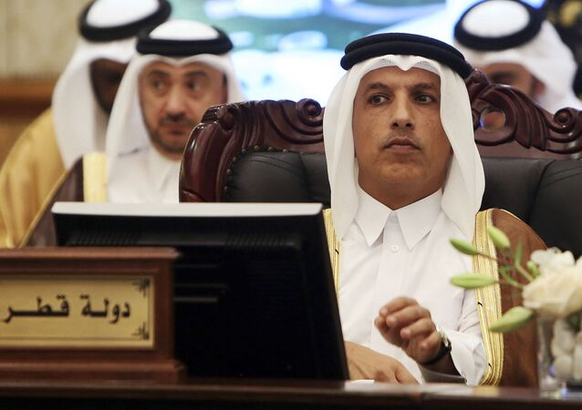In this file photo taken on November 6, 2018, Qatari Minister of Finance Ali Shareef al-Emadi (R) attends the GCC Financial and Economic cooperation committee in Kuwait City.