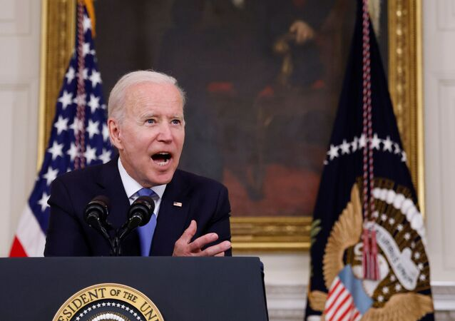 U.S. President Joe Biden gestures as he delivers remarks on the state of his American Rescue Plan from the State Dining Room at the White House in Washington, D.C., U.S., May 5, 2021