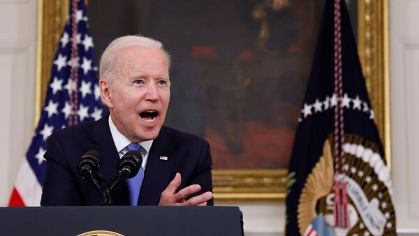 U.S. President Joe Biden gestures as he delivers remarks on the state of his American Rescue Plan from the State Dining Room at the White House in Washington, D.C., U.S., May 5, 2021 - Sputnik International