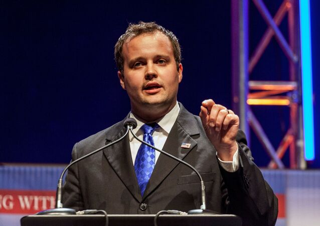 Josh Duggar, then-executive director of the Family Research Council, speaks at the Family Leadership Summit in Ames, Iowa,  August 9, 2014