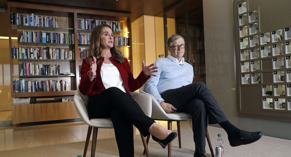 In this Feb. 1, 2019 photo, Bill and Melinda Gates are interviewed in Kirkland, Wash