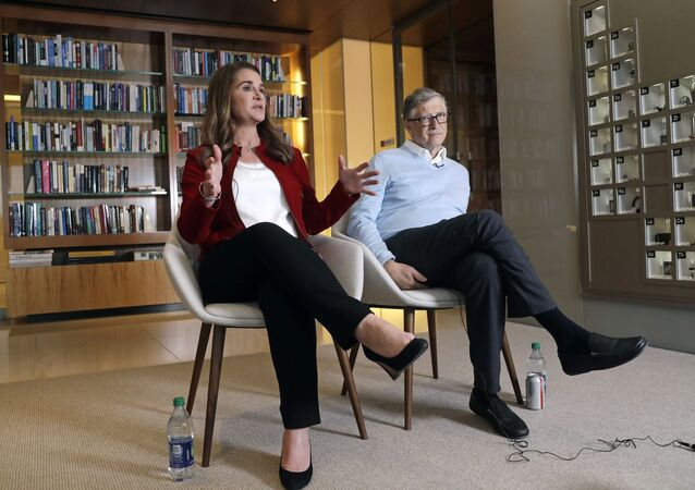 In this 1 February 2019 photo, Bill and Melinda Gates are interviewed in Kirkland, Washington