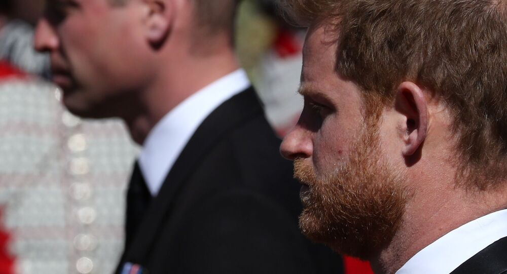 Britain's Prince Harry, Duke of Sussex, looks on during the funeral of Britain's Prince Philip, husband of Queen Elizabeth II, who died at the age of 99, in Windsor, Britain, 17 April 2021