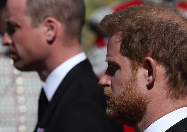 Britain's Prince Harry, Duke of Sussex, looks on during the funeral of Britain's Prince Philip, husband of Queen Elizabeth, who died at the age of 99, in Windsor, Britain, April 17, 2021