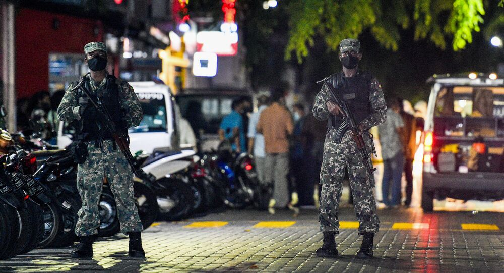 Soldiers secure a site after a bomb blast injured former Maldives president and current parliament speaker Mohamed Nasheed in Male on May 6, 2021.