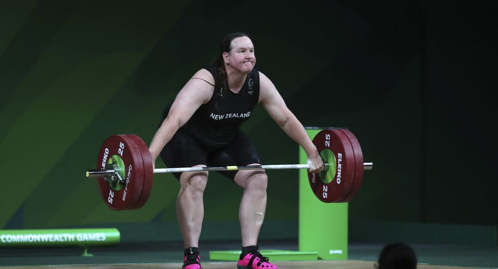 New Zealand's Laurel Hubbard lifts in the snatch of the women's +90kg weightlifting final at the 2018 Commonwealth Games on the Gold Coast, Australia, Monday, April 9, 2018