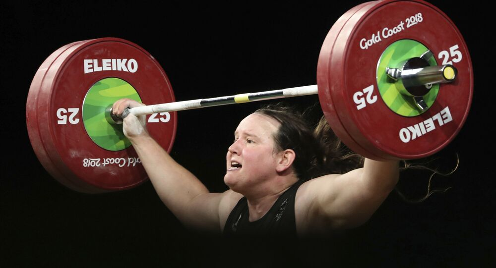 In this Monday, April 9, 2018 file photo, New Zealand's Laurel Hubbard participates in the women's +90kg weightlifting final the 2018 Commonwealth Games on the Gold Coast, Australia