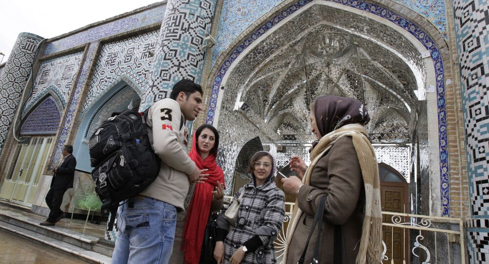 In this picture taken on Thursday, Feb. 16, 2012, Iranian Jews talk at the courtyard of the shrine of biblical prophet Daniel, in the city of Susa, some 450 miles ( 750 kilometers) southwest of the capital Tehran, Iran.