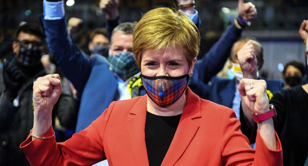 Scotland's First Minister and leader of the Scottish National Party (SNP), Nicola Sturgeon reacts after being declared the winner of the Glasgow Southside seat at Glasgow counting centre in the Emirates Arena in Glasgow on May 7, 2021, during counting for the Scottish parliament elections.