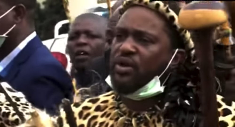 Screenshot captures Prince Misuzulu Zulu, the first son of South Africa's Queen Mantfombi, who was declared on Friday to be the heir to the Zulu nation following the reading of his mother's will.