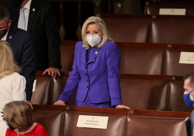 U.S. House Republican Conference Chairperson Rep. Liz Cheney (R-WY) waits for U.S. President Joe Biden to deliver his first address to a joint session of the U.S. Congress inside the House Chamber of the U.S. Capitol in Washington, U.S., April 28, 2021.