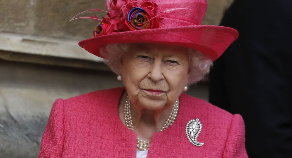 Britain's Queen Elizabeth II leaves the chapel after the wedding of Lady Gabriella Windsor and Thomas Kingston at St George's Chapel, Windsor Castle, near London, England, Saturday, May 18, 2019