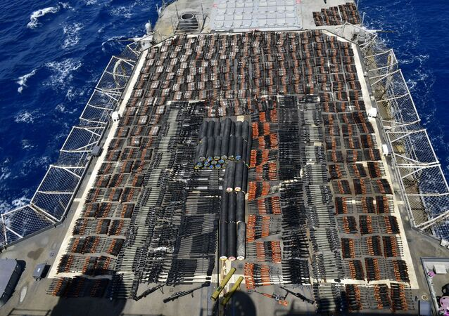 Thousands of illicit weapons is displayed onboard the guided-missile cruiser USS Monterey (CG 61) which was seized from a stateless dhow in international waters of the North Arabian Sea in this picture taken on May 8, 2021 and released by U.S.Navy on May 9, 2021.