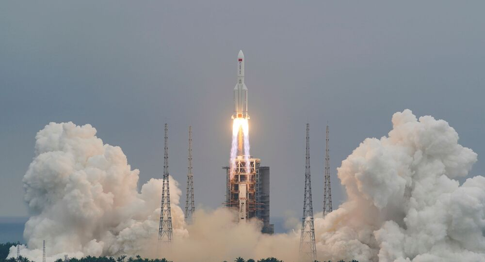 The Long March-5B Y2 rocket, carrying the core module of China's space station Tianhe, takes off from Wenchang Space Launch Center in Hainan province, China April 29, 2021