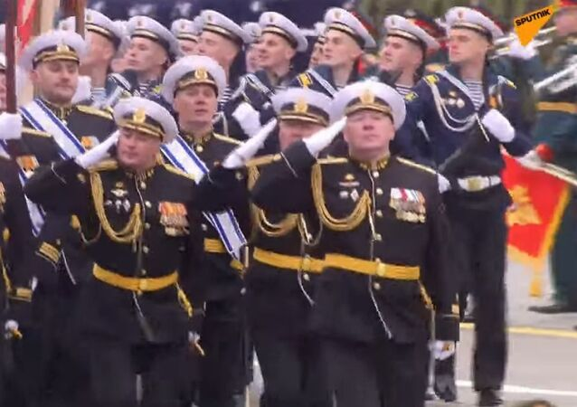 Next is a unit of the Russian Navy, headed by students of the legendary Kuznetsov Naval Academy in St. Petersburg. Graduates of this prestigious academy are tasked with providing cadres for command positions in the Russian Navy.