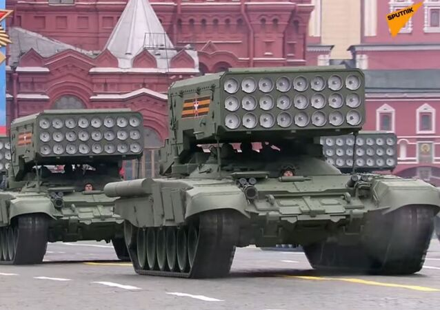 TOS-1A heavy flamethrower systems are on the square, belonging to the 1st Mobile NBC Protection Brigade.