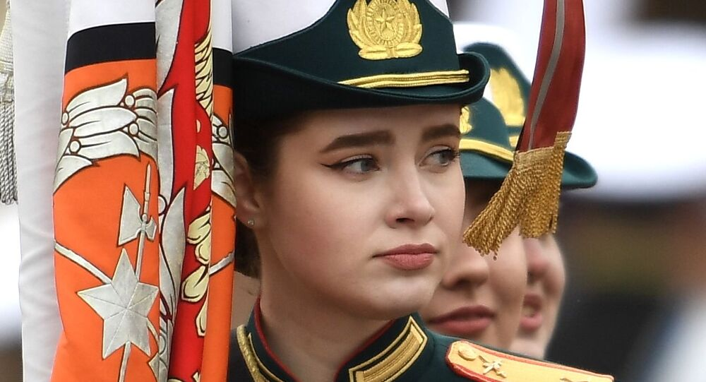 Cadet stands on Red Square ahead of Sunday's parade dedicated to the 76th anniversary of Victory in the Great Patriotic War.