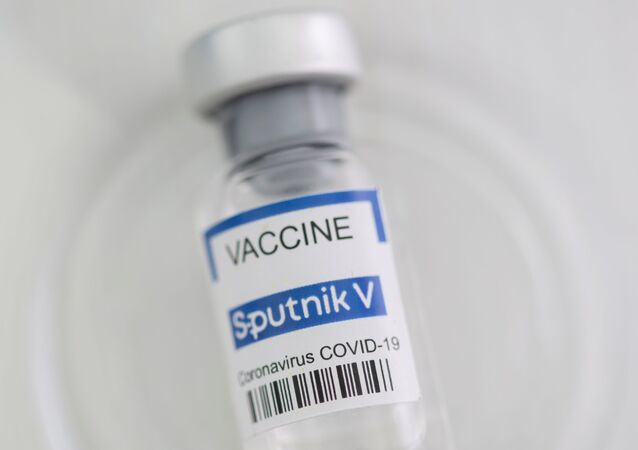 A vial labelled Sputnik V coronavirus disease (COVID-19) vaccine is seen in this illustration picture taken May 2, 2021