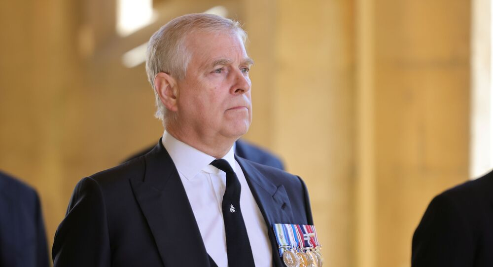 Britain's Prince Andrew, Duke of York, looks on during the funeral of his father Prince Philip, husband of Queen Elizabeth, who died at the age of 99, in Windsor, Britain, 17 April 2021.