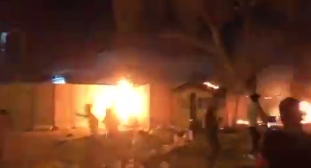 Screenshot from a video allegedly showing the Iranian consulate in the Iraqi city of Karbala on fire
