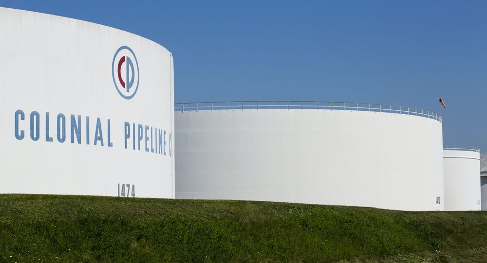 Holding tanks are seen at Colonial Pipeline's Linden Junction Tank Farm in Woodbridge, New Jersey, U.S