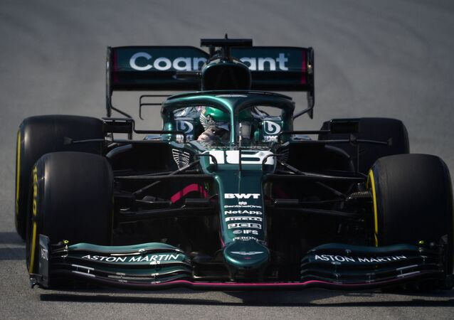 Aston Martin's Canadian driver Lance Stroll drives during the second practice session at the Circuit de Catalunya on May 7, 2021 in Montmelo on the outskirts of Barcelona ahead of the Spanish Formula One Grand Prix.