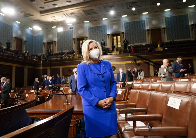 Rep. Liz Cheney, R-Wyo., arrives to the chamber ahead of President Joe Biden speaking to a joint session of Congress, Wednesday, April 28, 2021, in the House Chamber at the U.S. Capitol in Washington.