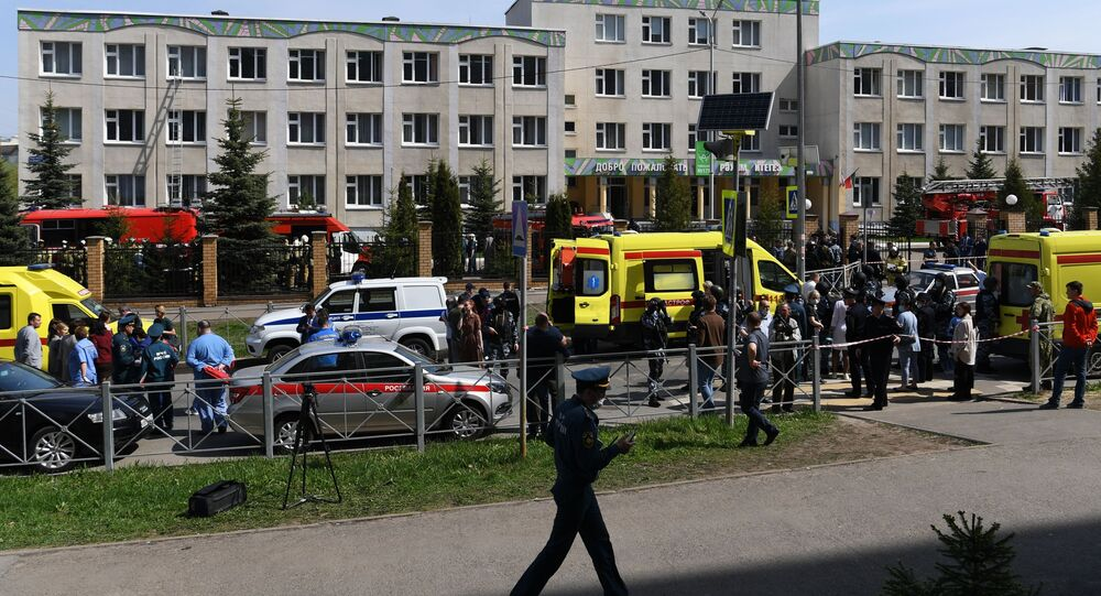 The situation at a school in Kazan, where unknown people opened fire.