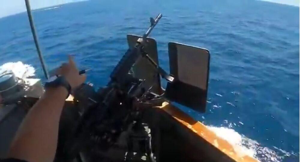 Screenshot of 10 May 2021 videoed encounter between US patrol boat USCGC Maui and Islamic Revolutionary Guard Corps Navy (IRGCN) FIAC speedboats.