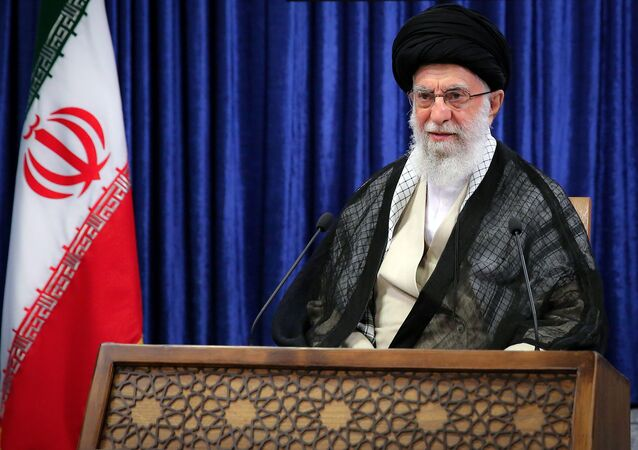 Iran's Supreme Leader Ayatollah Ali Khamenei delivers a live televised speech marking the annual Quds Day, or Jerusalem Day, on the last Friday of the Muslim holy month of Ramadan, in Tehran, Iran May 7, 2021