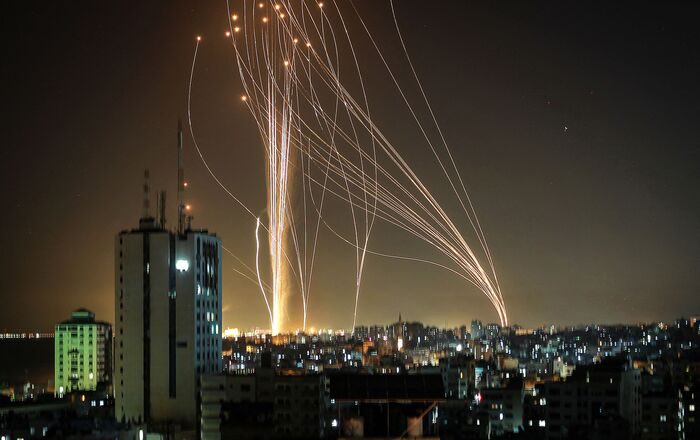 Rockets are launched from Gaza city, controlled by the Palestinian Hamas movement, in response to an Israeli air strike on a 12-storey building in the city, towards the coastal city of Tel Aviv, on May 11, 2021.