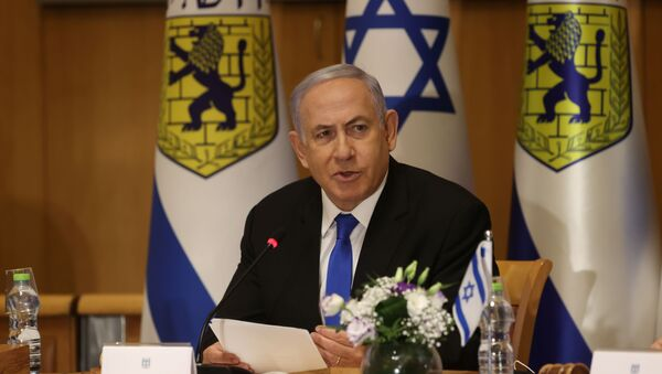 Israeli Prime Minister Benjamin Netanyahu attends a special cabinet meeting on the occasion of Jerusalem Day, in Jerusalem, May 9, 2021. - Sputnik International