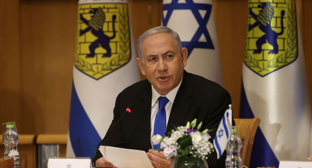 Israeli Prime Minister Benjamin Netanyahu attends a special cabinet meeting on the occasion of Jerusalem Day, in Jerusalem, May 9, 2021.