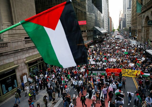 Pro-Palestinian supporters march to Times Square as they protested near the Israeli Consulate following a flare-up of Israeli-Palestinian violence in the Manhattan borough of New York City, New York, U.S., May 11, 2021.