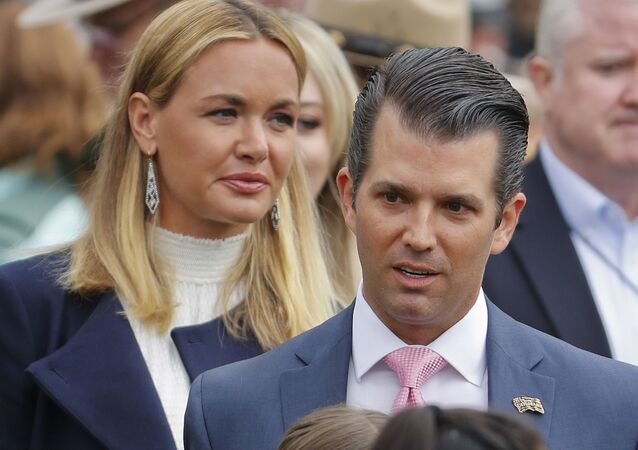 FILE - In this Monday, April 2, 2018, file photo, Donald Trump Jr., right, and Vanessa Trump, left, arrive to participate in the annual White House Easter Egg Roll on the South Lawn of the White House in Washington. Donald Trump Jr. and his estranged wife Vanessa are expected to appear Thursday, July 26, 2018