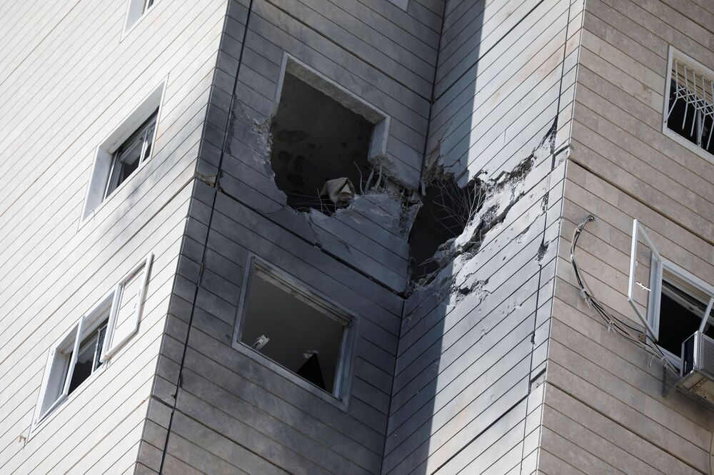 General view of a house damaged from a rocket launched from the Gaza Strip, in Ashkelon, southern Israel, 11 May 2021.