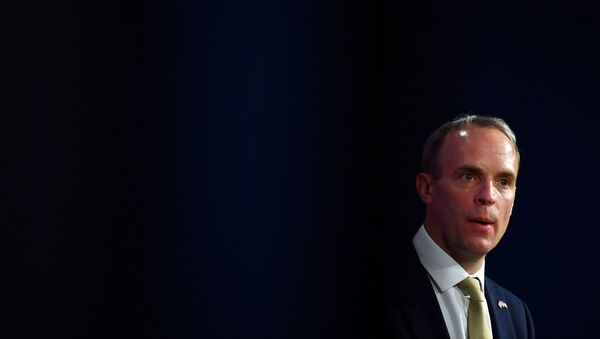 Britain's Foreign Secretary Dominic Raab attends a news conference with his U.S. counterpart following a bilateral meeting in London, Britain May 3, 2021 during the G7 foreign ministers meeting. - Sputnik International