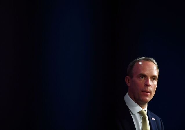 Britain's Foreign Secretary Dominic Raab attends a news conference with his U.S. counterpart following a bilateral meeting in London, Britain May 3, 2021 during the G7 foreign ministers meeting.