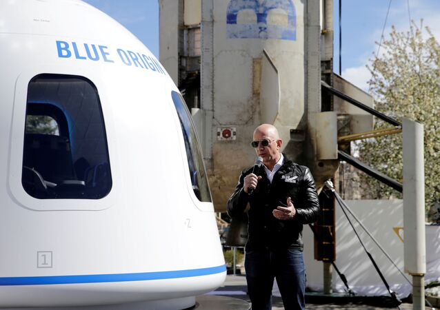 Amazon and Blue Origin founder Jeff Bezos addresses the media about the New Shepard rocket booster and Crew Capsule mockup at the 33rd Space Symposium in Colorado Springs, Colorado, United States April 5, 2017