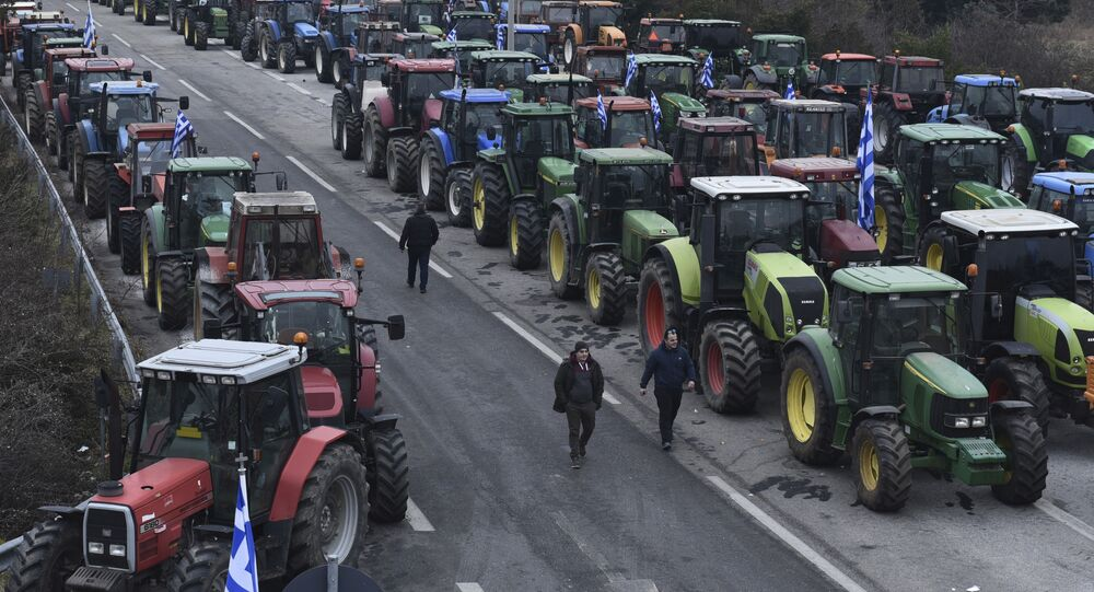 Greek farmers keep up their blockade for four fourth day near Evzoni custom at the Greek-Macedonian border on Thursday, Feb. 2, 2017