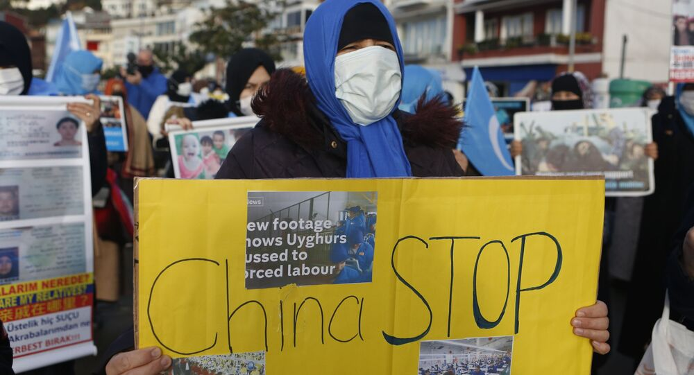 Members of the Uighur community in Turkey, hold a protest near China's consulate in Istanbul in February 2021.